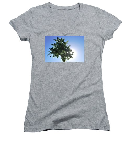 Single Tree - Sun And Blue Sky Women's V-Neck T-Shirt (Junior Cut)