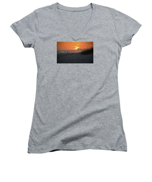 Women's V-Neck T-Shirt (Junior Cut) featuring the photograph Sinking Into The Horizon by Renee Hardison