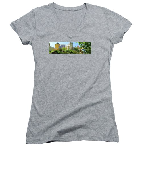 Women's V-Neck T-Shirt (Junior Cut) featuring the photograph Sintra Castle by Patricia Schaefer