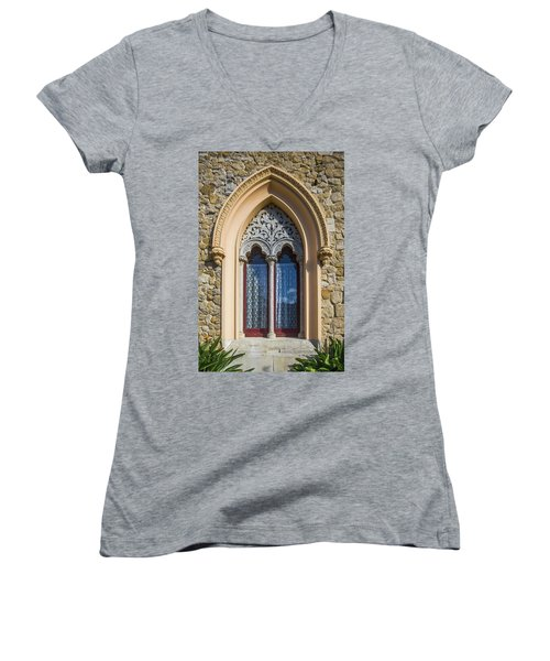 Women's V-Neck T-Shirt (Junior Cut) featuring the photograph Sintra Window by Carlos Caetano