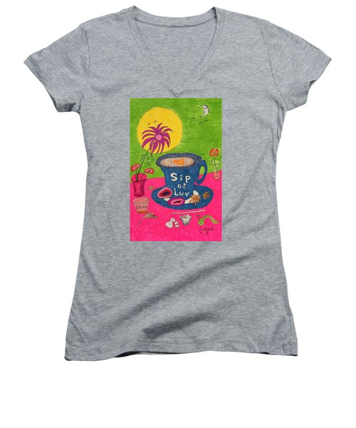 Sip Of Luv Women's V-Neck (Athletic Fit)