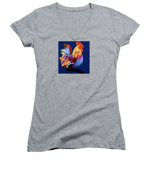 Women's V-Neck T-Shirt (Junior Cut) featuring the painting Sir Chanticleer by Bob Coonts