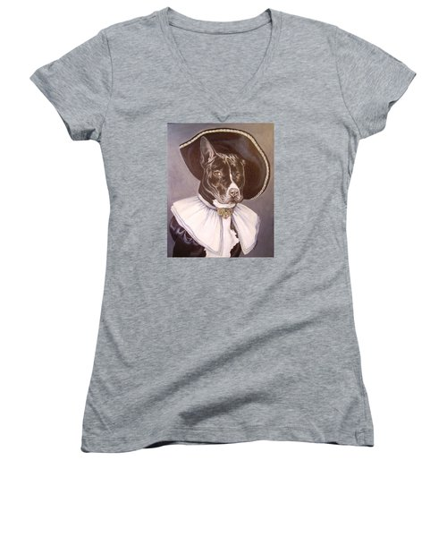 Women's V-Neck T-Shirt (Junior Cut) featuring the painting Sir Pibbles by Laura Aceto