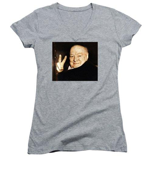 Sir Winston Churchill Victory Women's V-Neck
