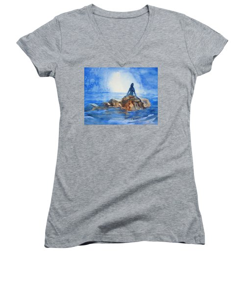 Women's V-Neck T-Shirt (Junior Cut) featuring the painting Siren Song by Marilyn Jacobson