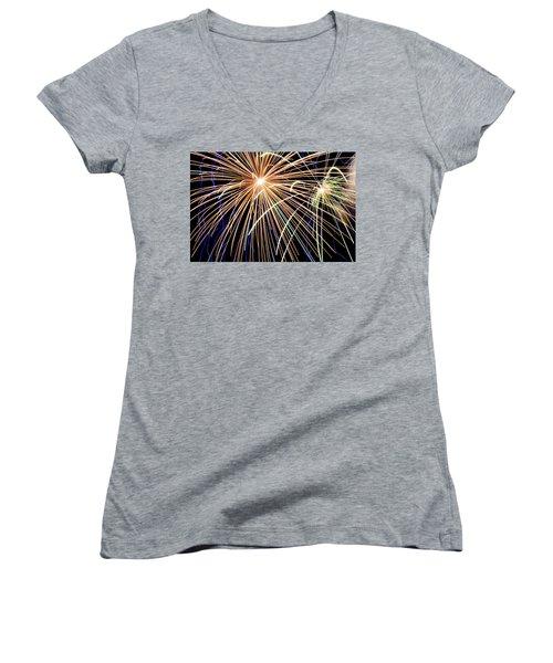 Sister Bay Fireworks Women's V-Neck (Athletic Fit)