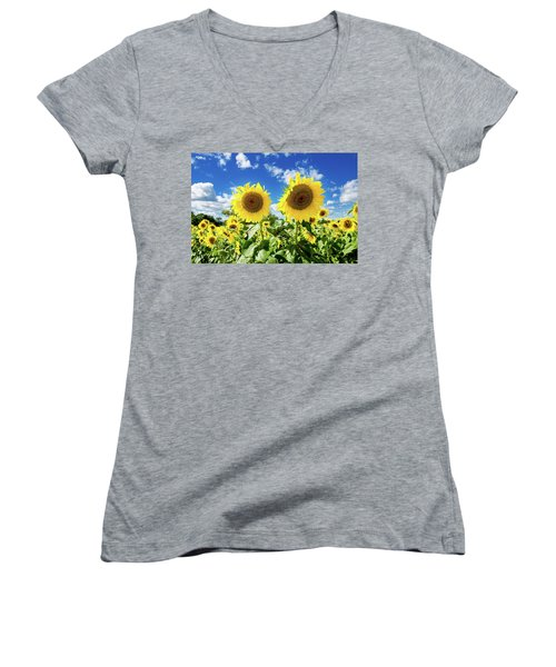 Women's V-Neck T-Shirt (Junior Cut) featuring the photograph Sisters by Greg Fortier