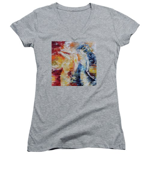 Women's V-Neck T-Shirt (Junior Cut) featuring the painting Sisters by Marat Essex