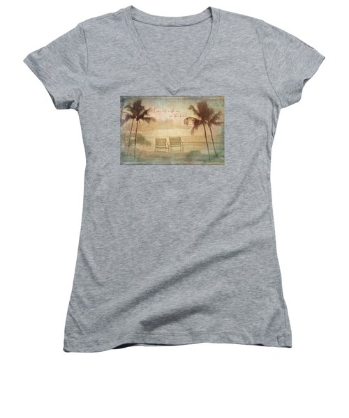 Sit With Me On The Beach Women's V-Neck