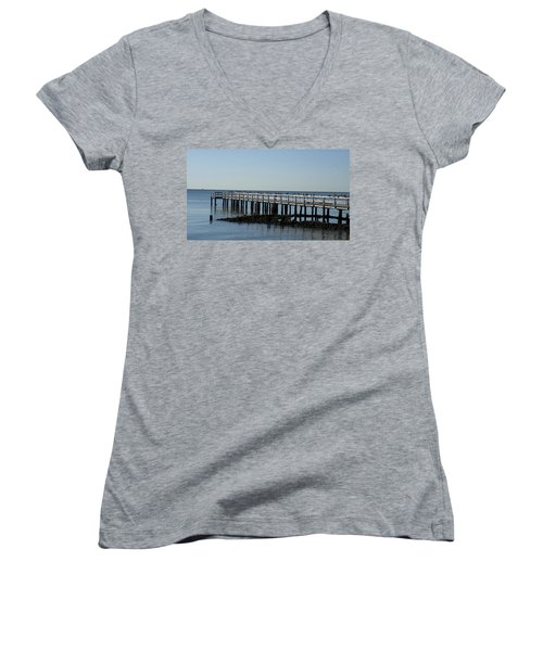 Women's V-Neck T-Shirt (Junior Cut) featuring the photograph Sittin' On The Dock By The Bay by Charles Kraus