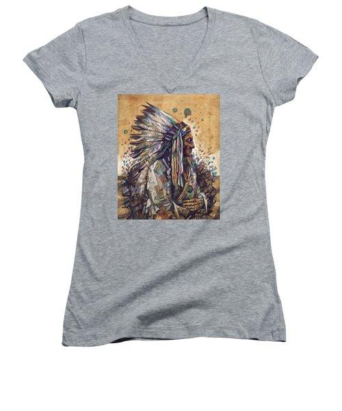 Sitting Bull Decorative Portrait 2 Women's V-Neck (Athletic Fit)
