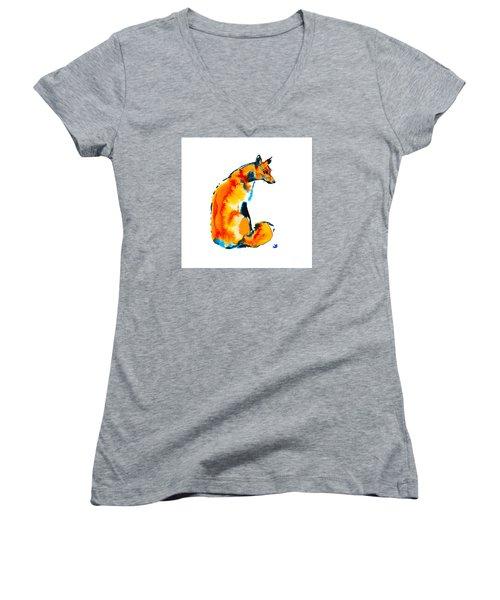 Women's V-Neck T-Shirt featuring the painting Sitting Fox by Zaira Dzhaubaeva