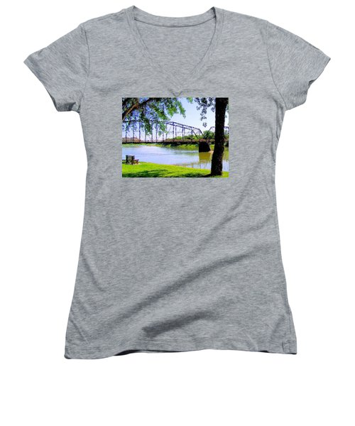 Women's V-Neck T-Shirt (Junior Cut) featuring the photograph Sitting In Fort Benton by Susan Kinney