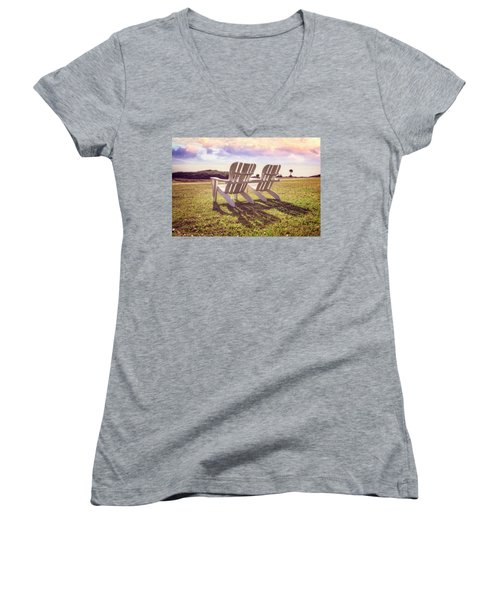 Women's V-Neck T-Shirt (Junior Cut) featuring the photograph Sitting In The Sun by Debra and Dave Vanderlaan
