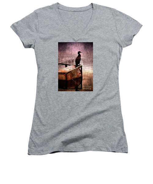 Sitting On The Dock Of The Bay Women's V-Neck T-Shirt (Junior Cut) by Clare Bevan