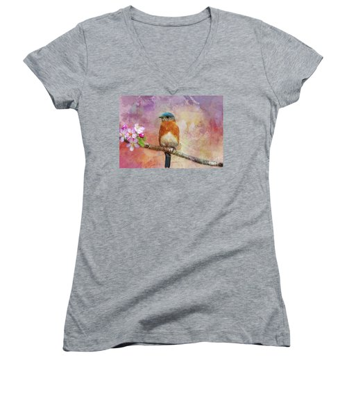 Sitting Pretty Women's V-Neck T-Shirt (Junior Cut) by Geraldine DeBoer