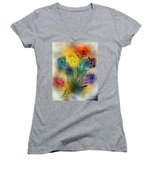 Six Flowers - E Women's V-Neck T-Shirt (Junior Cut) by Greg Moores