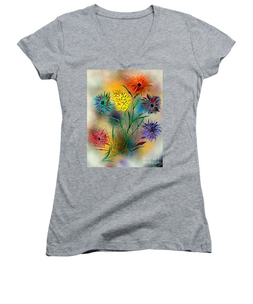 Six Flowers - E Women's V-Neck T-Shirt