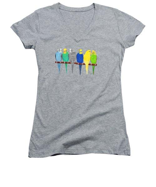 Six Parakeets Women's V-Neck T-Shirt (Junior Cut) by Rita Palmer