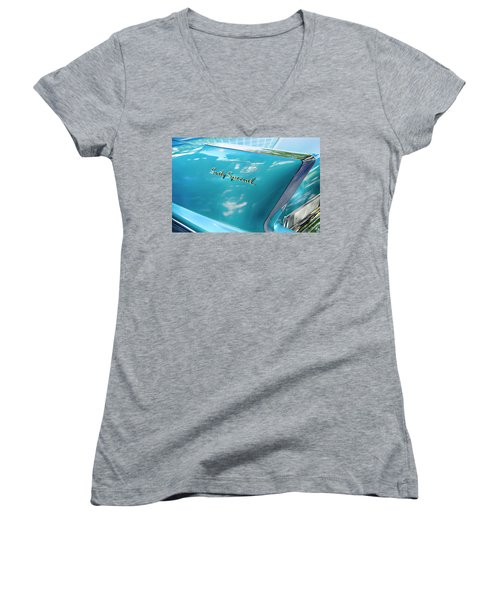 Women's V-Neck T-Shirt (Junior Cut) featuring the photograph Sixty Special Cadillac by Theresa Tahara