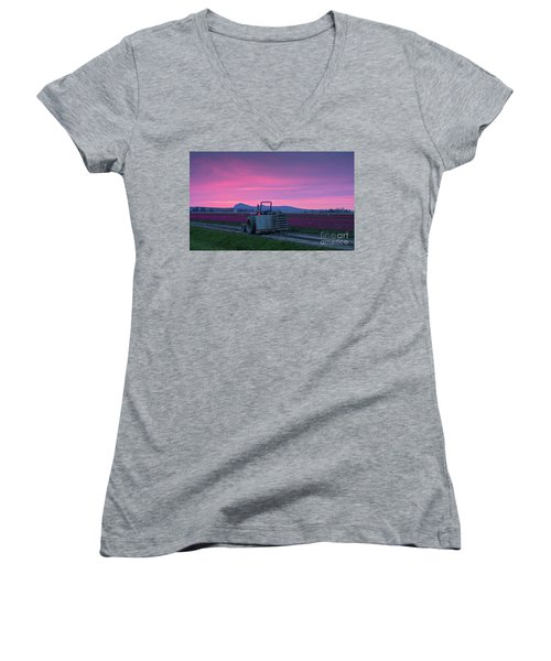 Women's V-Neck T-Shirt (Junior Cut) featuring the photograph Skagit Valley Dusk Calm by Mike Reid