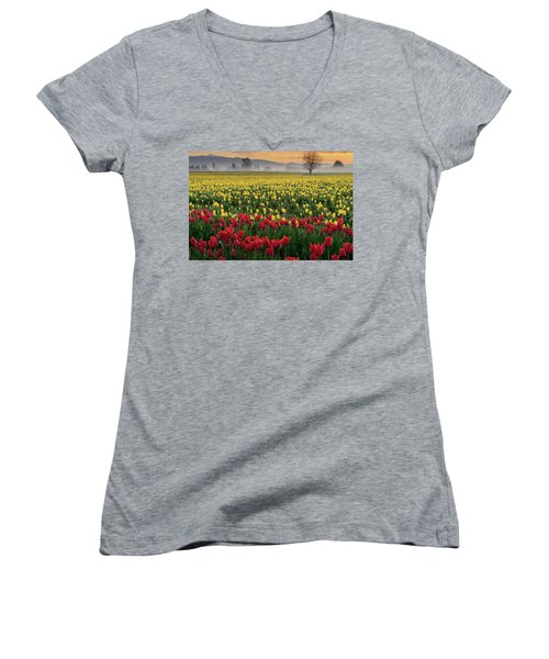 Women's V-Neck T-Shirt (Junior Cut) featuring the photograph Skagit Valley Misty Morning by Dan Mihai