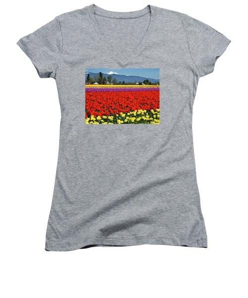 Skagit Valley Tulip Fields Women's V-Neck T-Shirt