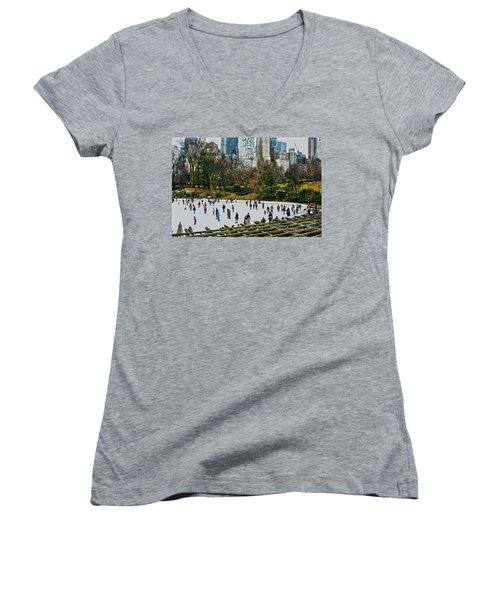 Women's V-Neck T-Shirt (Junior Cut) featuring the photograph Skating At Central Park by Sandy Moulder