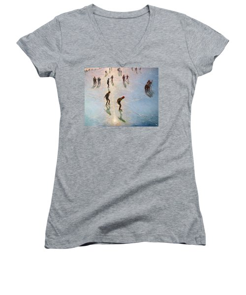 Skating In The Sunset  Women's V-Neck T-Shirt (Junior Cut) by Pierre Van Dijk