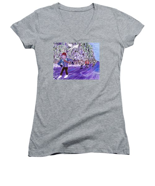 Skating On Thin Ice Women's V-Neck T-Shirt
