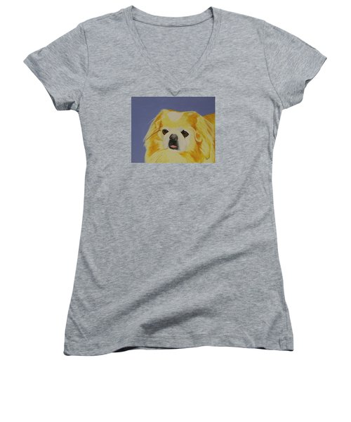 Women's V-Neck T-Shirt (Junior Cut) featuring the painting Skeeter The Peke by Hilda and Jose Garrancho