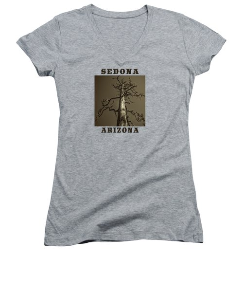 Skeletal Tree Sedona Arizona Women's V-Neck T-Shirt