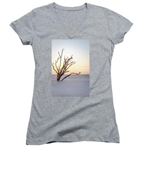 Skeleton Tree In The Ocean Women's V-Neck T-Shirt