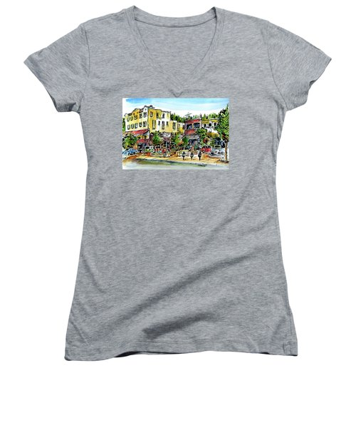 Women's V-Neck T-Shirt (Junior Cut) featuring the painting Sketch Crawl In Truckee by Terry Banderas