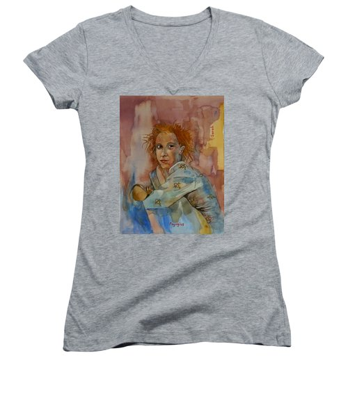 Women's V-Neck T-Shirt (Junior Cut) featuring the painting Sketch For Sarah by Ray Agius