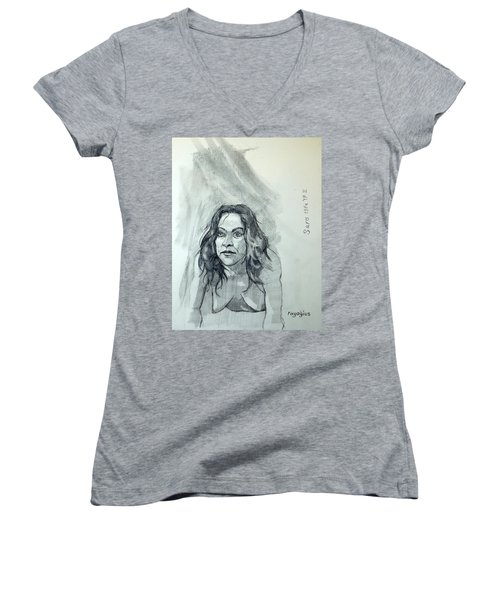 Women's V-Neck T-Shirt (Junior Cut) featuring the painting Sketch For Sera.10.01 by Ray Agius