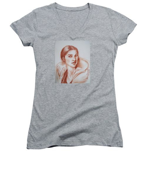 Sketch In Conte Crayon Women's V-Neck