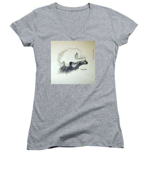 Women's V-Neck T-Shirt (Junior Cut) featuring the painting Sketch Of Sera.10.03 by Ray Agius