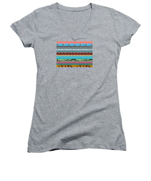 Sketchy Stripes Women's V-Neck T-Shirt (Junior Cut) by Stan  Magnan