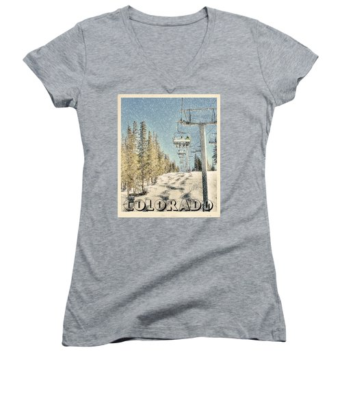 Ski Colorado Women's V-Neck T-Shirt (Junior Cut) by Juli Scalzi