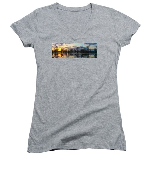 Skies Across The North End Women's V-Neck (Athletic Fit)