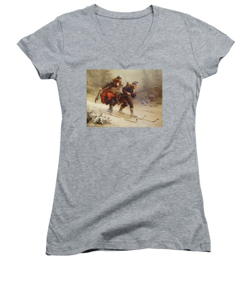 Skiing Birchlegs Crossing The Mountain With The Royal Child Women's V-Neck