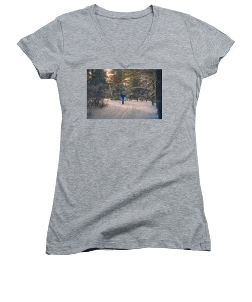 Skiing Borderland In Afternoon Light Women's V-Neck