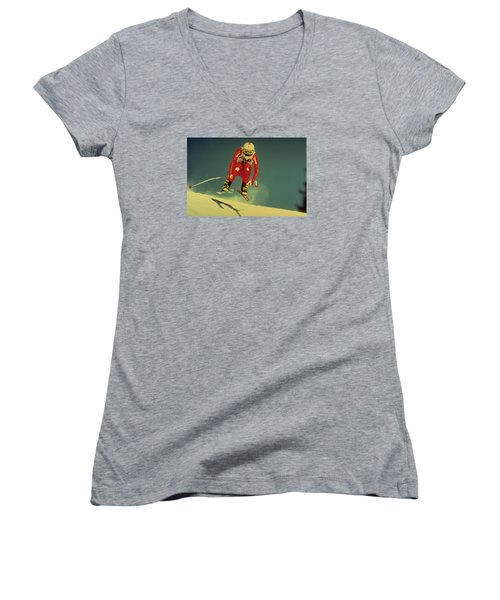 Women's V-Neck T-Shirt (Junior Cut) featuring the photograph Skiing In Crans Montana by Travel Pics