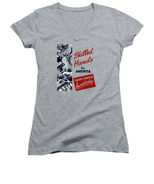 Women's V-Neck T-Shirt (Junior Cut) featuring the mixed media Skilled Hands For America by War Is Hell Store