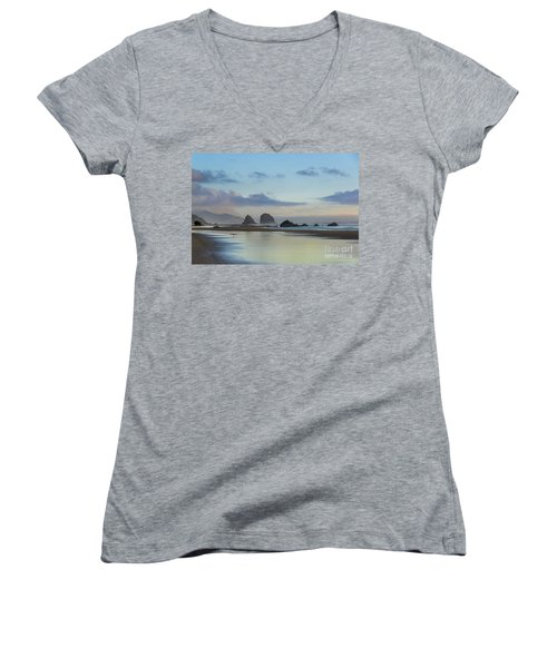 Skimming Along The Beach At Sunset Women's V-Neck