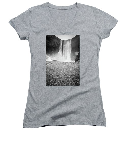 Skogafoss In Winter Women's V-Neck