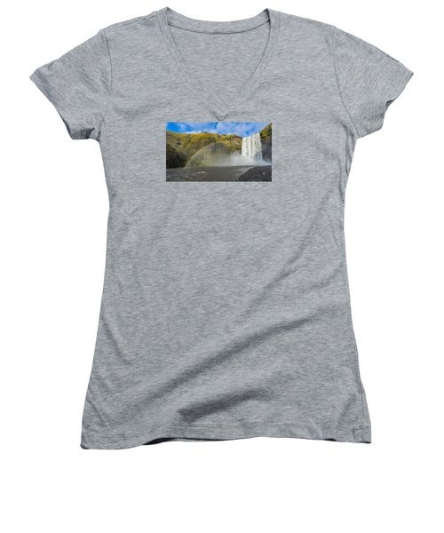 Skogafoss Rainbow Women's V-Neck