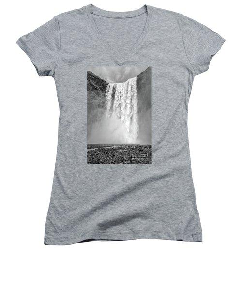 Women's V-Neck T-Shirt featuring the photograph Skogafoss Waterfall Iceland by Edward Fielding