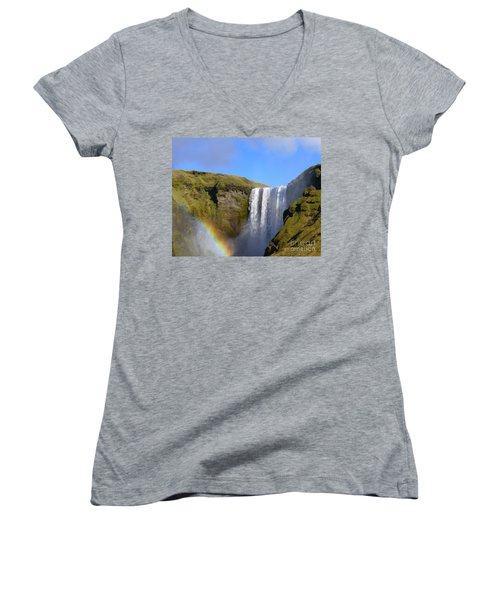 Skogafoss Waterfall With Rainbow 151 Women's V-Neck (Athletic Fit)